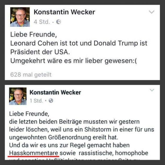 """Konstantin Wecker: """"Liebe Freunde, Leonard Cohen ist tot und Donuld Trump ist Präsident der USA. Umgekehrt wäre es mir lieber gewesen."""""""