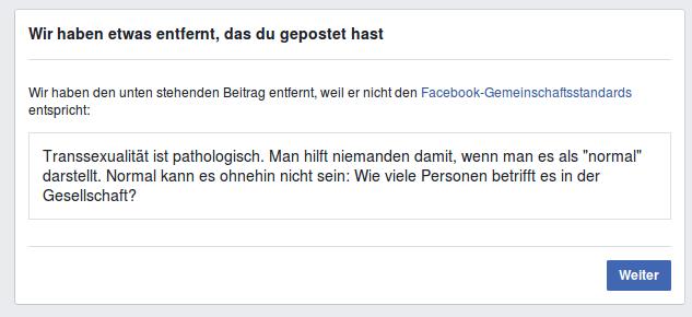 Facebookzensur - Transsexuelle - Faktum Magazin