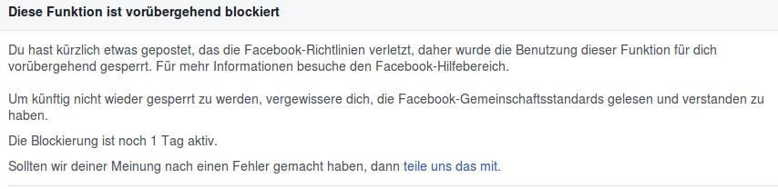 Funktion gesperrt - Facebook - Faktum Magazin