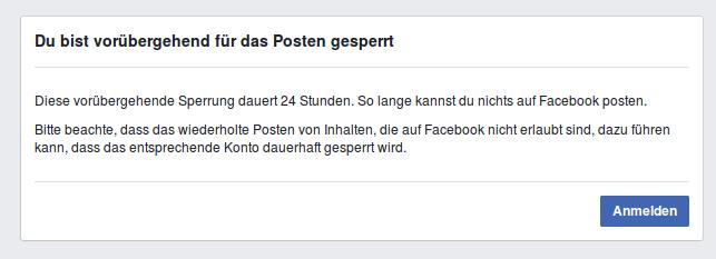 24-Stunden-Sperrung bei Facebook - Faktum Magazin