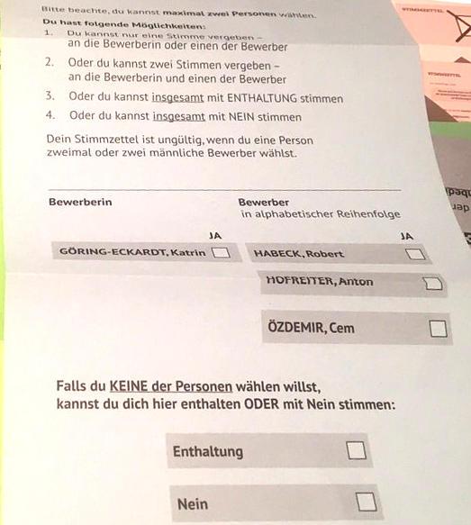 Wahlzettel - Die Grünen - Urwahl