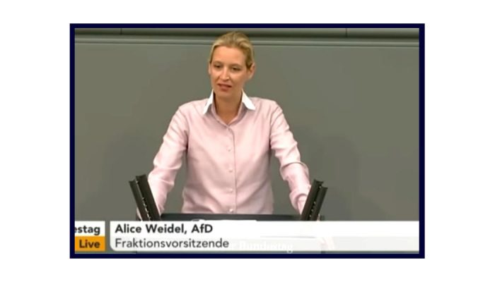 Video aus dem Bundestag: Alice Weidel über den Haushalt, Kopftuchmädchen und Taugenichtse